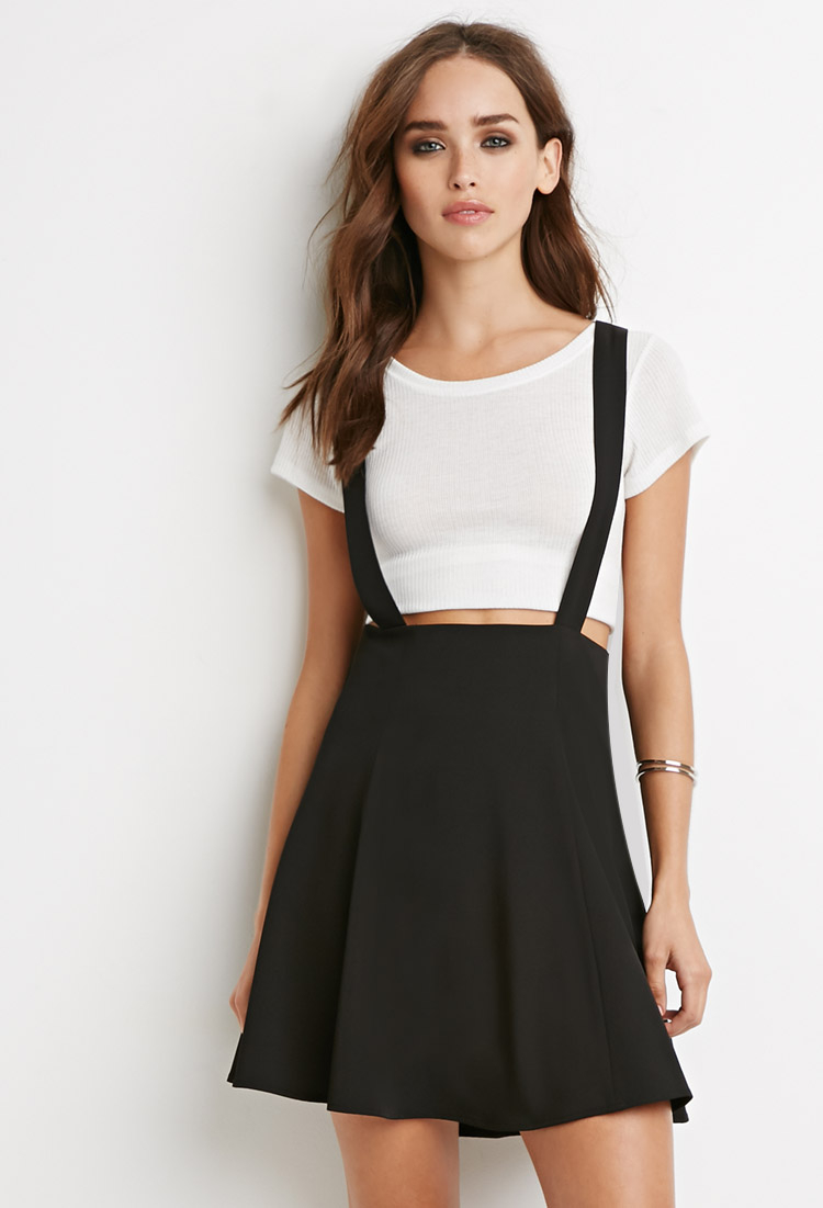 Forever 21 Flared Overall Skirt in Black - Lyst