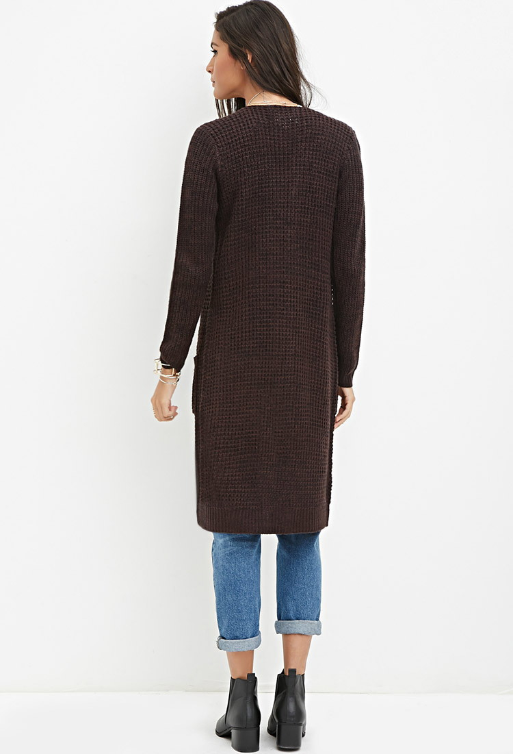 Forever 21 Marled Longline Cardigan in Brown | Lyst