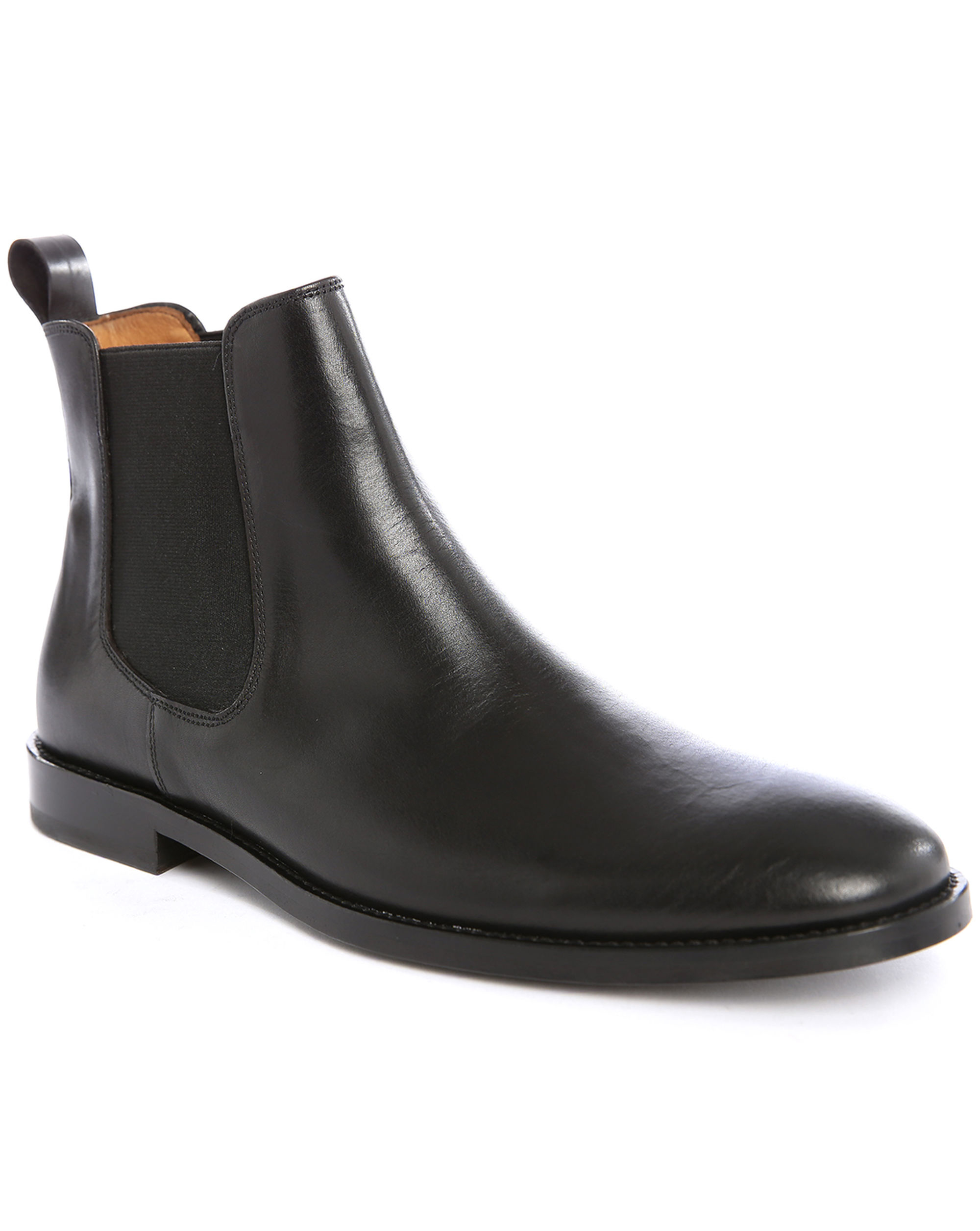 Anthology Black Smooth Leather Boots With Elastic In Black