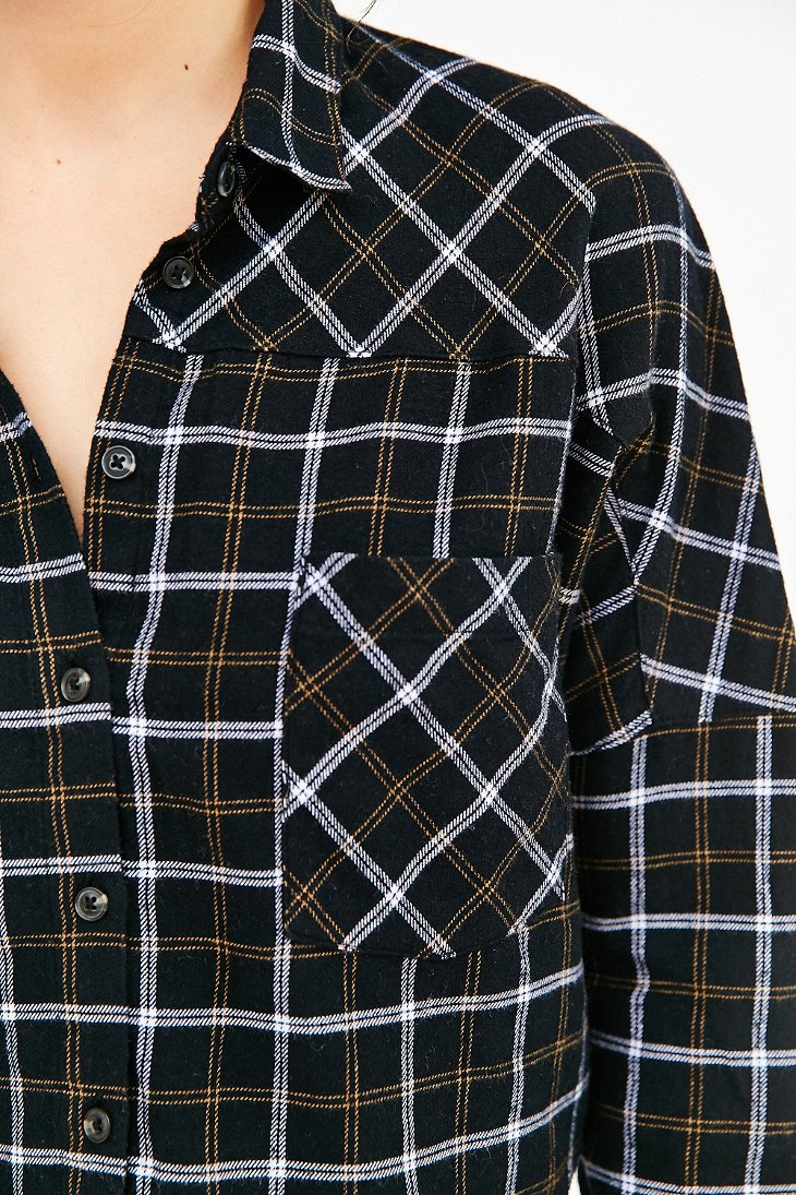 Lyst Bdg Olly Checked Print Flannel Shirt In Black