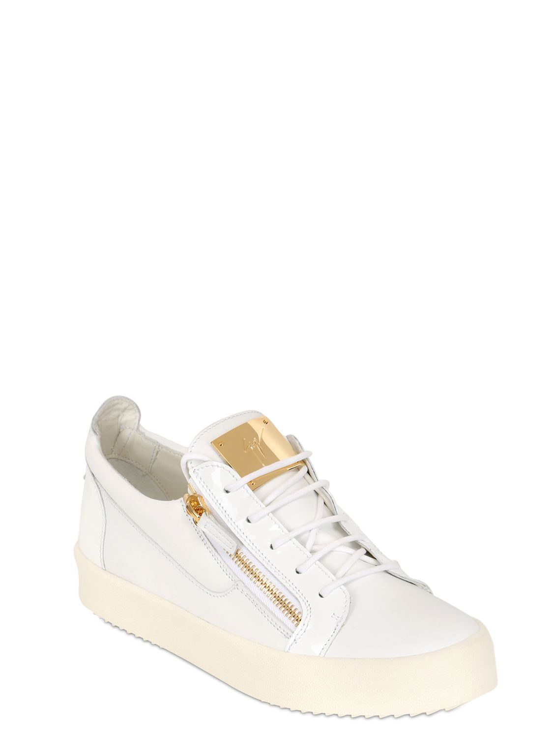giuseppe zanotti zip up leather sneakers in white for