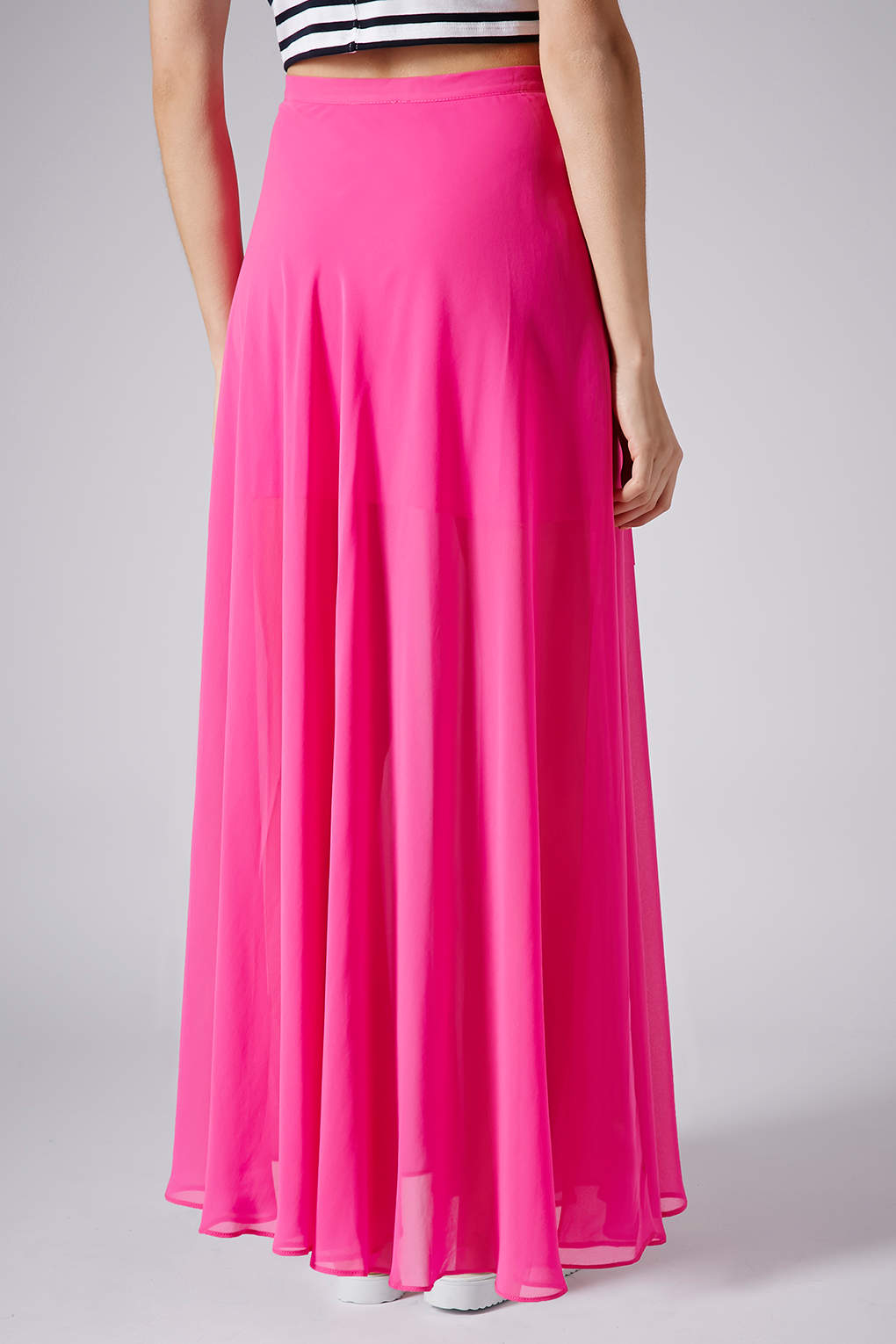 4dbac052eae TOPSHOP Pink Chiffon Maxi Skirt in Pink - Lyst