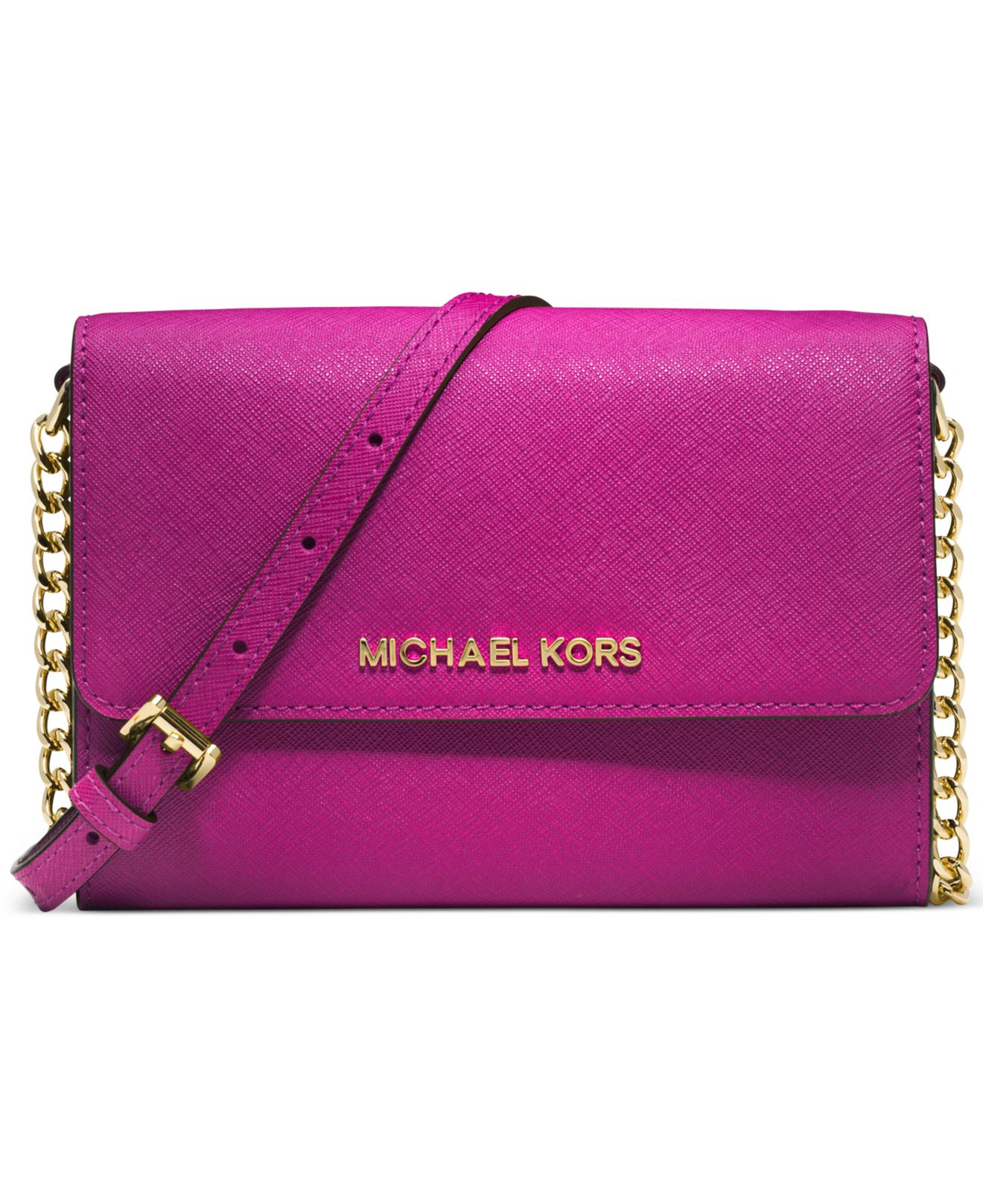 michael kors michael jet set crossbody in pink fuschia gold lyst. Black Bedroom Furniture Sets. Home Design Ideas