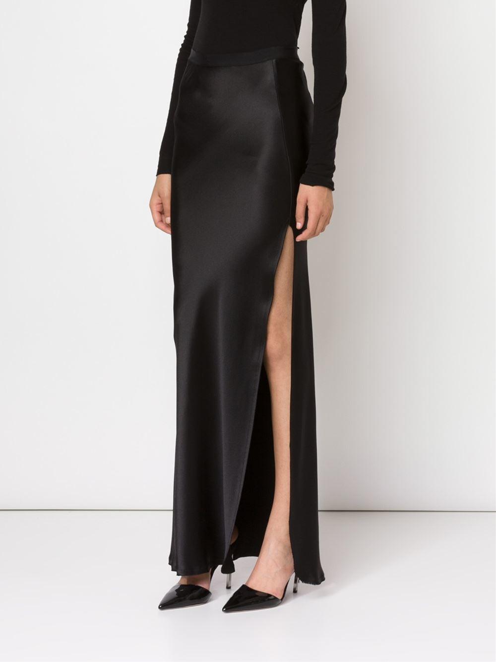 nili lotan side slit maxi skirt in black lyst