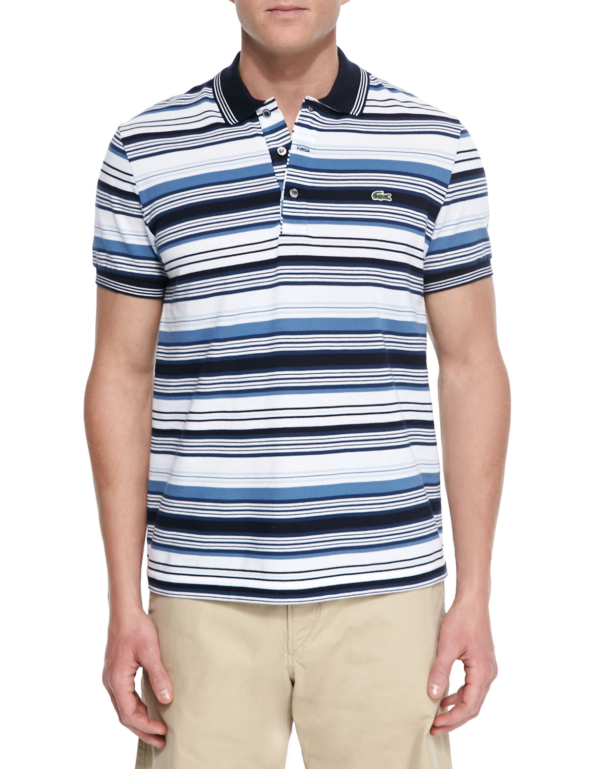 Lacoste pique knit multi stripe polo shirt in multicolor for Lacoste stripe pique polo shirt