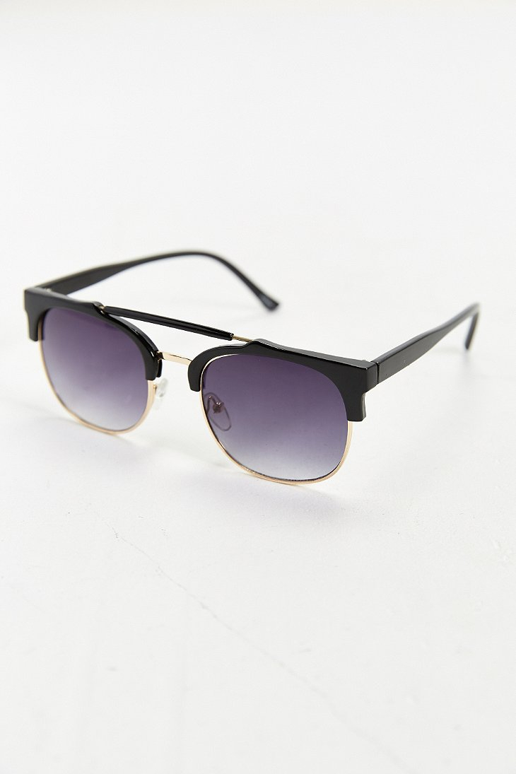 Urban Outfitters Half-Frame Brow Bar Sunglasses in Black ...