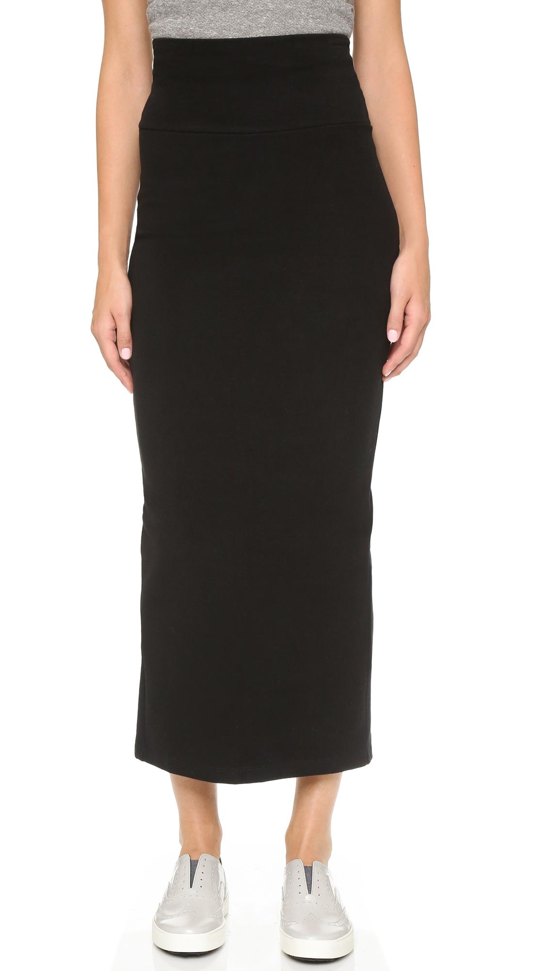 James perse Knit Moleskin Pencil Skirt - Black in Black | Lyst