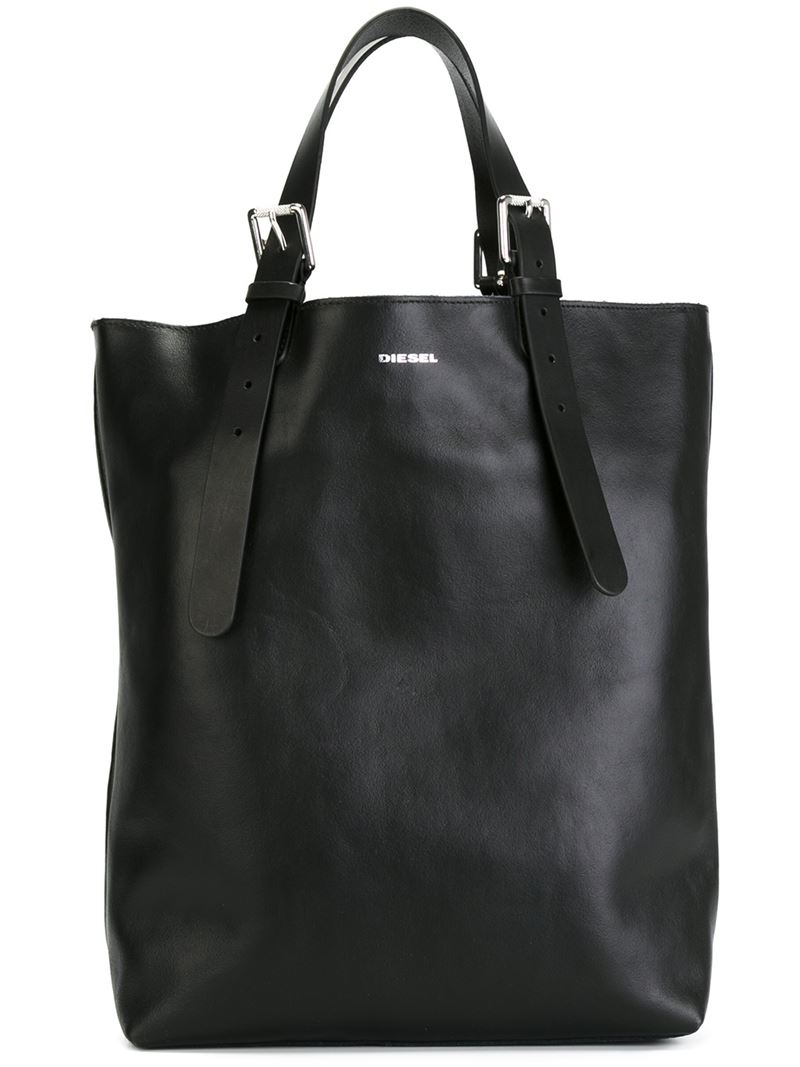 Diesel Buckle Strap Shopper Bag In Black Lyst