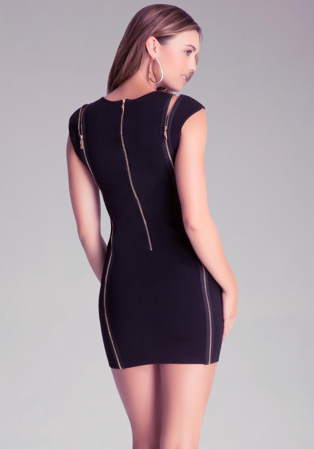 Lyst bebe zip detail dress in black for Bebe dresses wedding guest