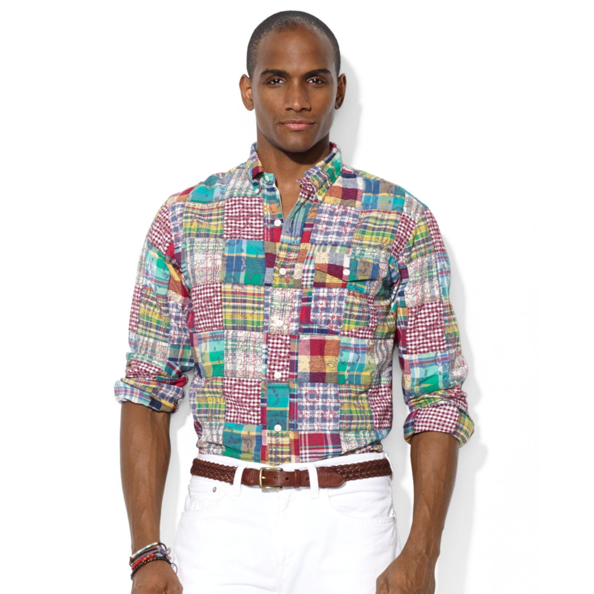 7432d110 Ralph Lauren Polo Patchwork Madras Bleecker Pocket Shirt for Men - Lyst