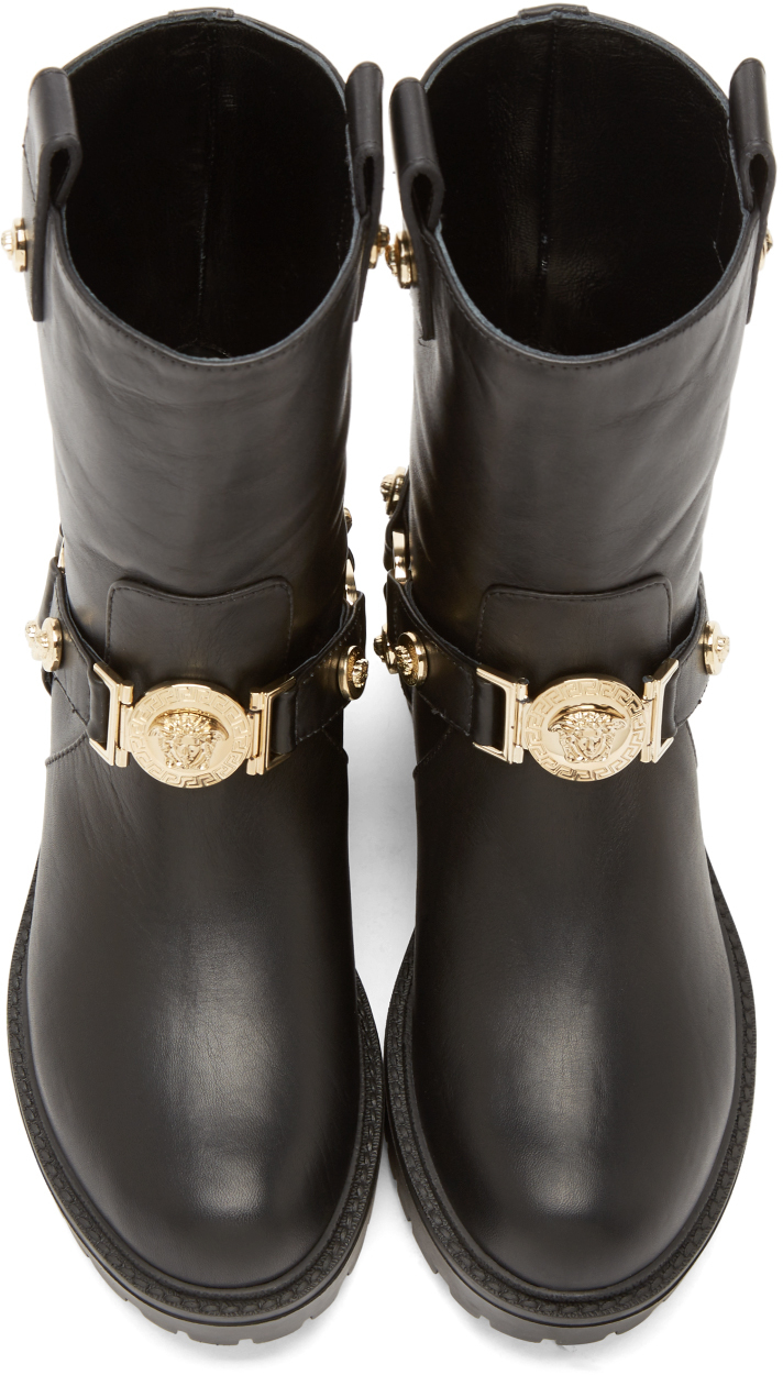 Versace Leather Medusa Boots In Black Gold Black Lyst