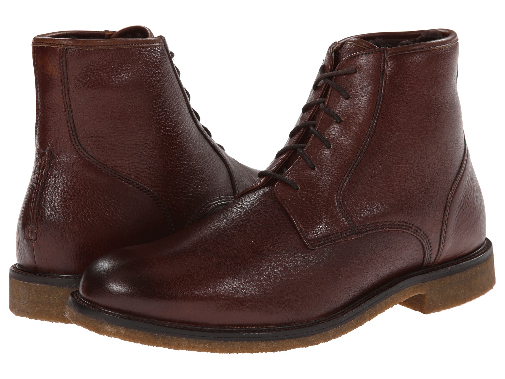 johnston murphy copeland shearling boots in brown for
