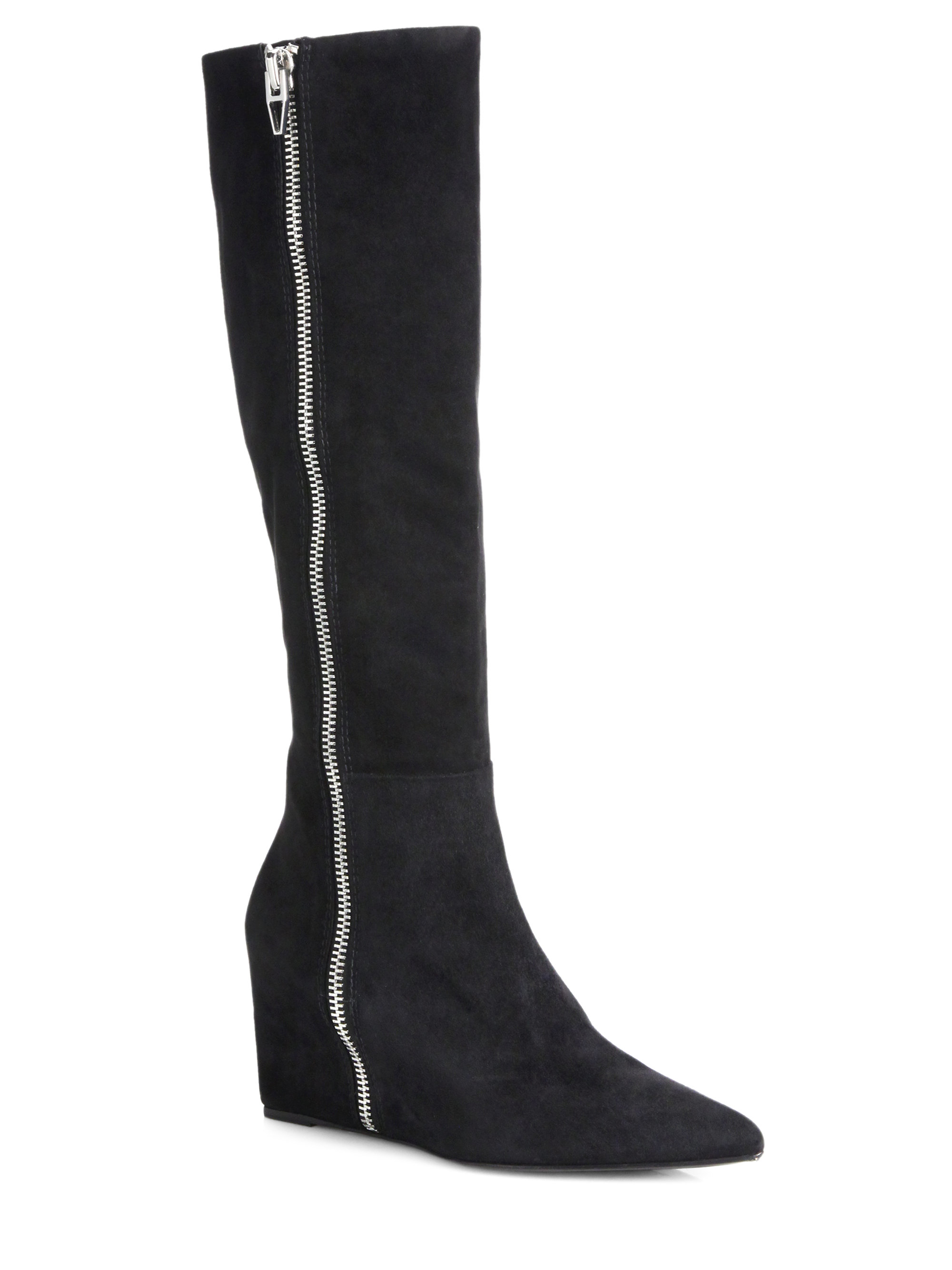 wang lea goat suede wedge knee high boots in