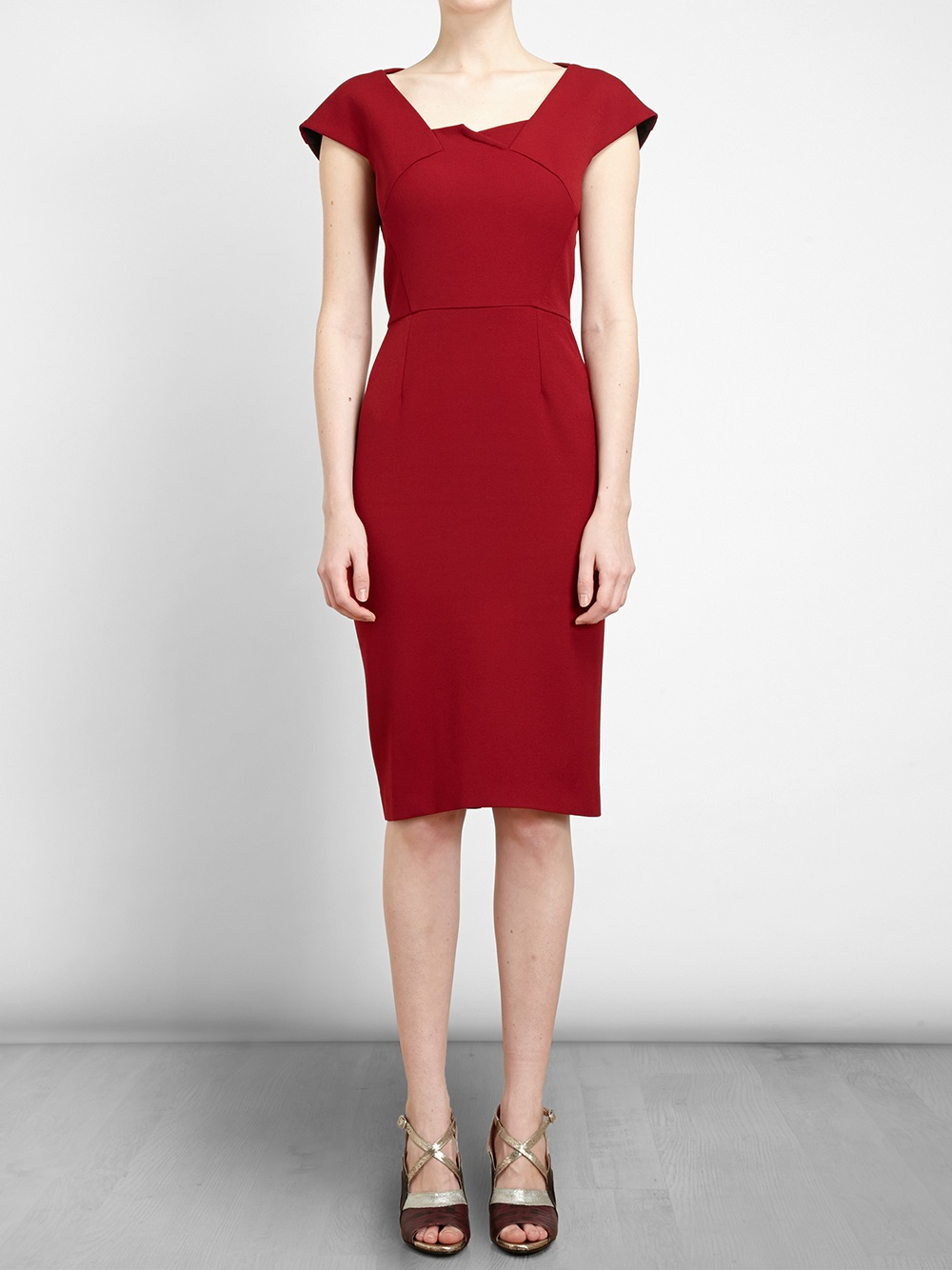 Lyst Roland Mouret Panelled Midi Dress In Red