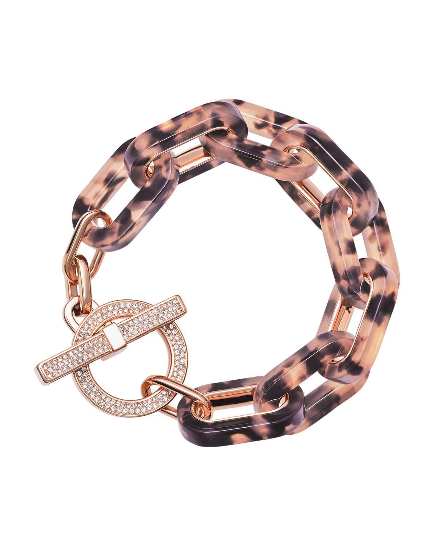 25a742ff233d5 Michael Kors Pink Tortoise Link Pave Toggle Bracelet