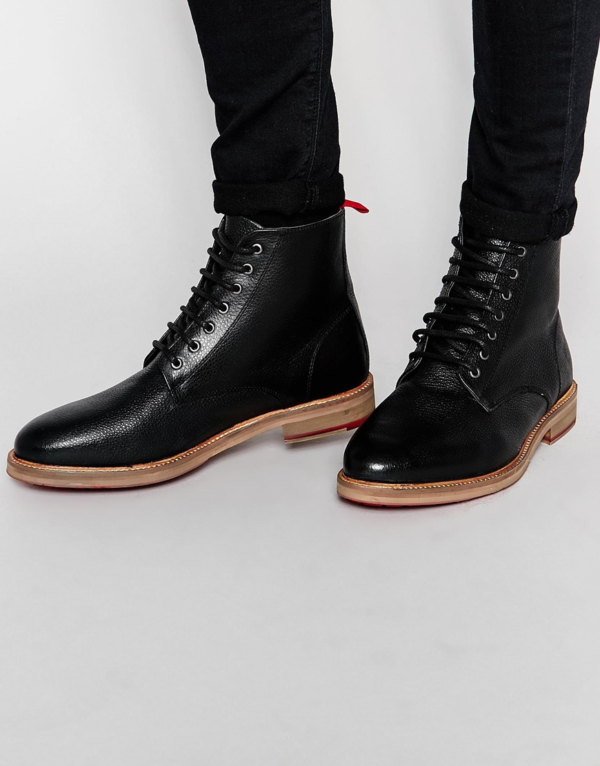 asos boots in black scotchgrain leather in black for