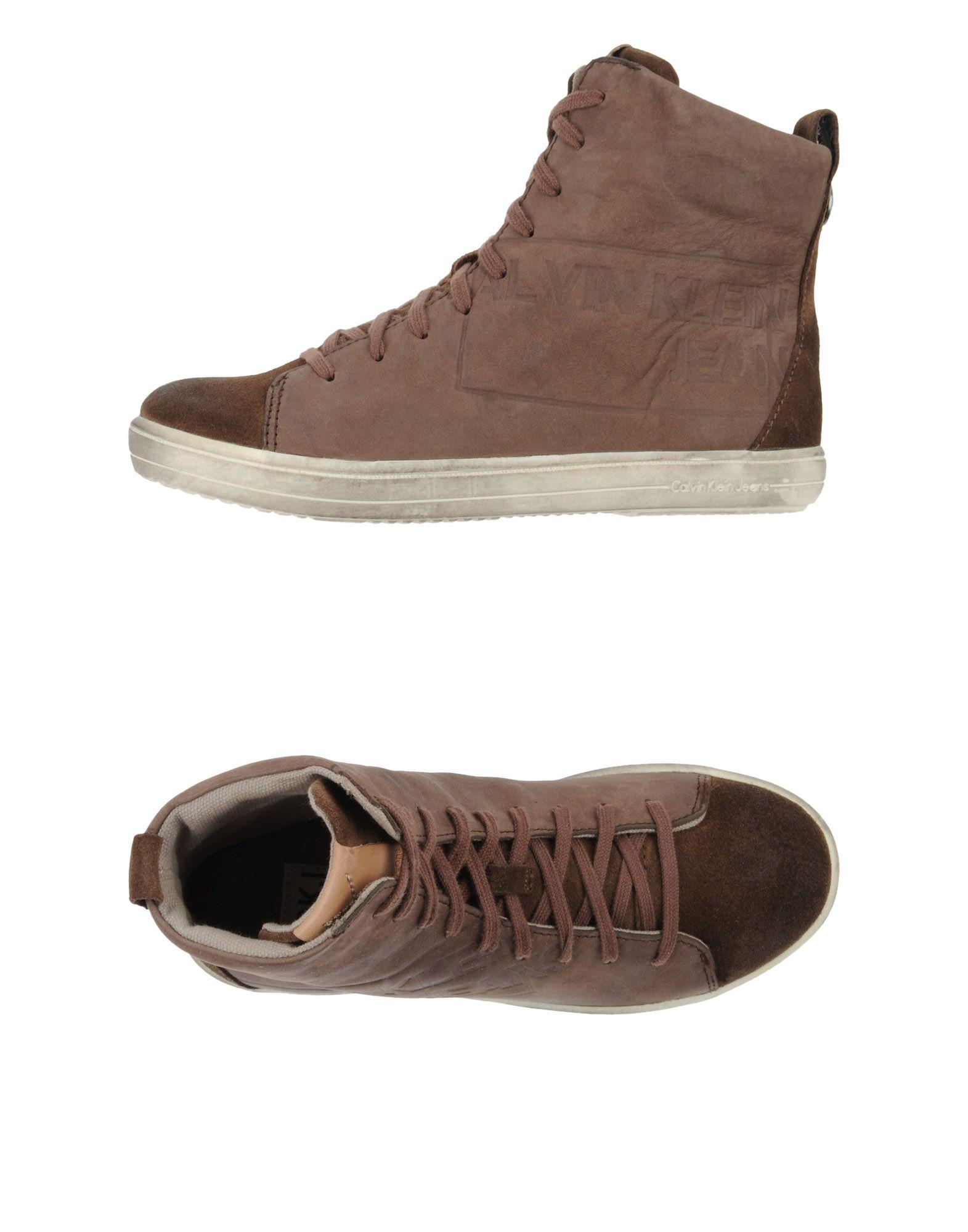calvin klein jeans brown high tops trainers for men lyst. Black Bedroom Furniture Sets. Home Design Ideas