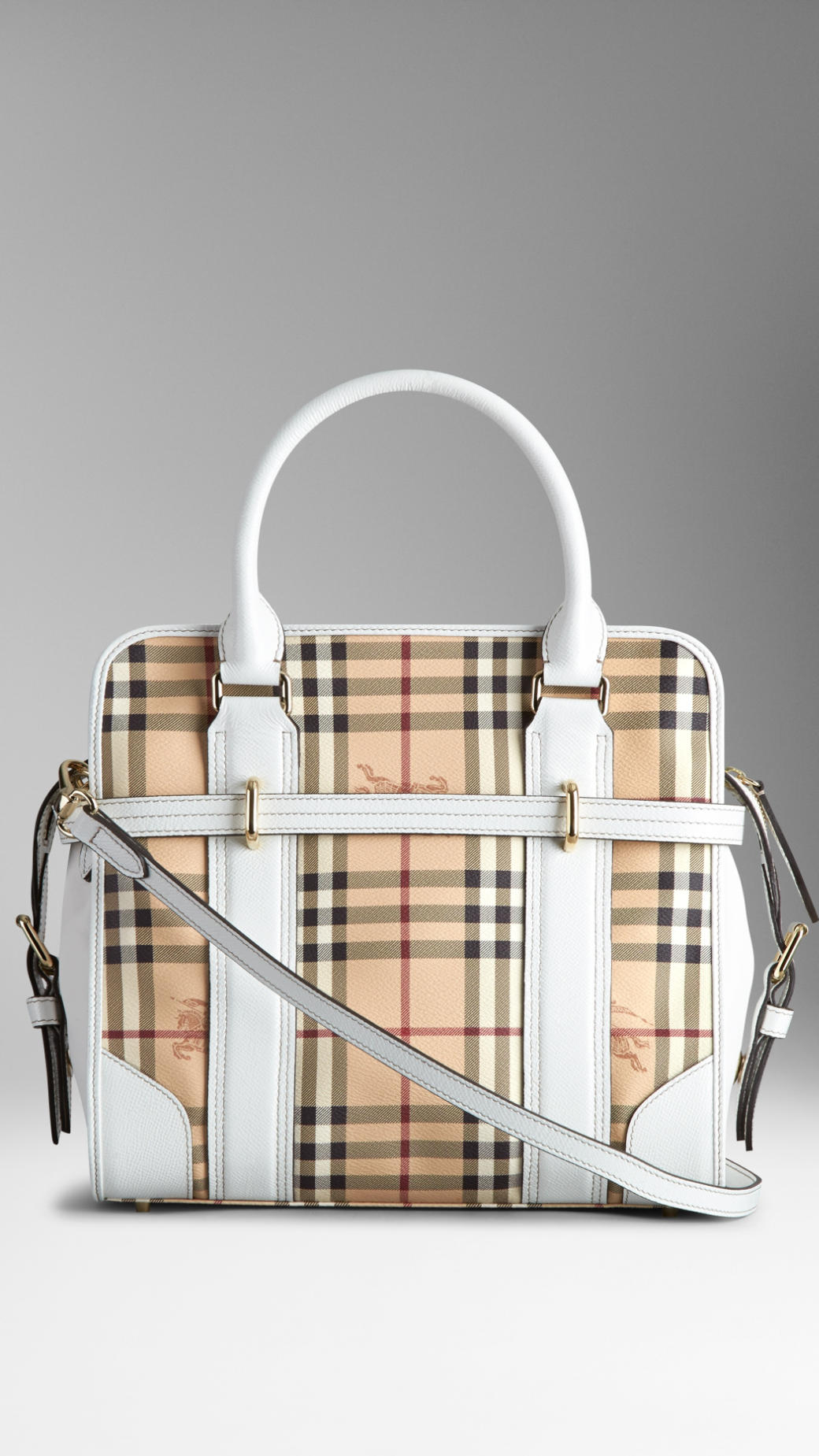 Lyst - Burberry Medium Haymarket Check And Leather Tote Bag in Brown 9a33cff7ebdf4