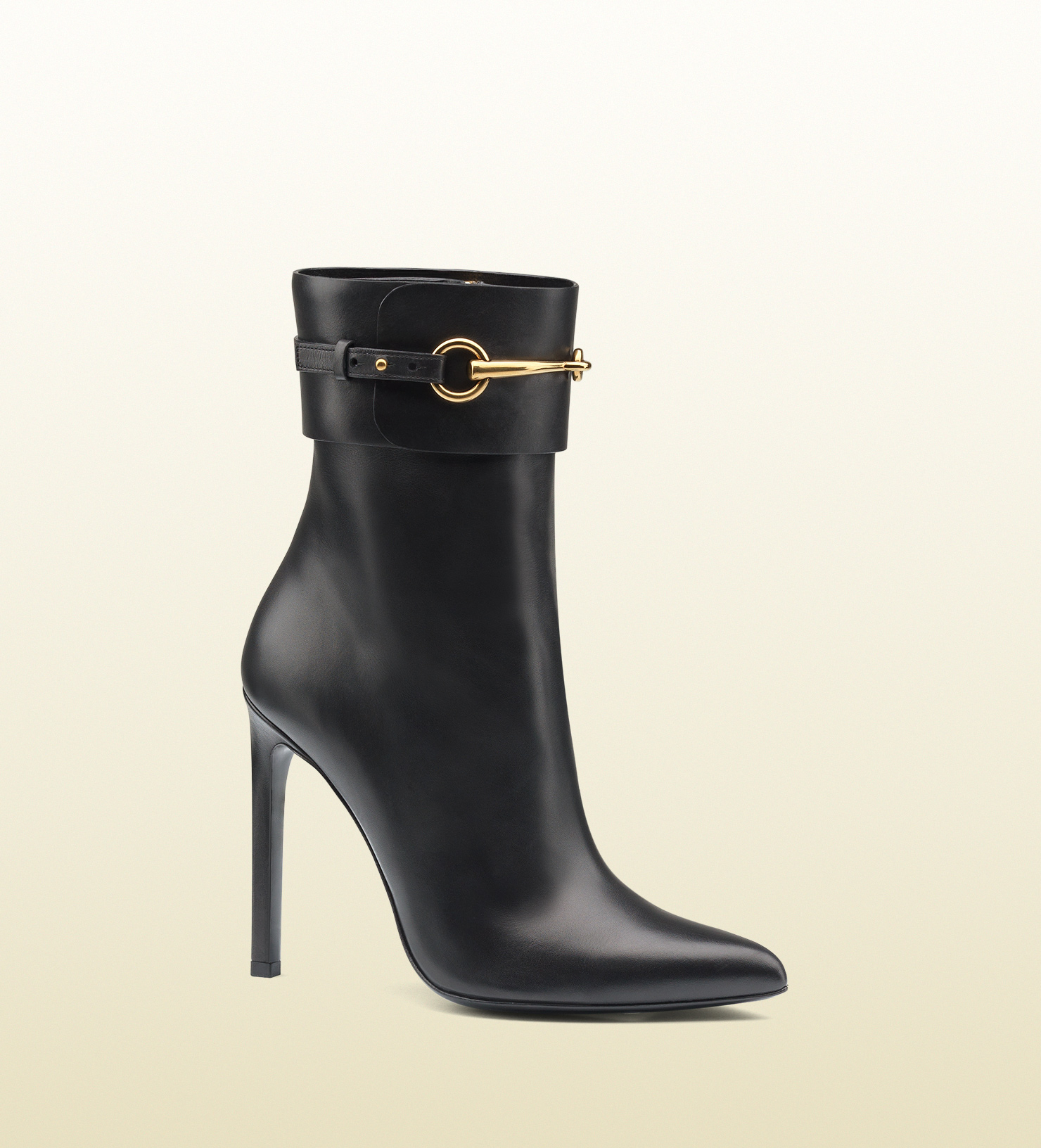 0ddf6bc46e43 Lyst - Gucci Leather Horsebit Ankle Boot in Black