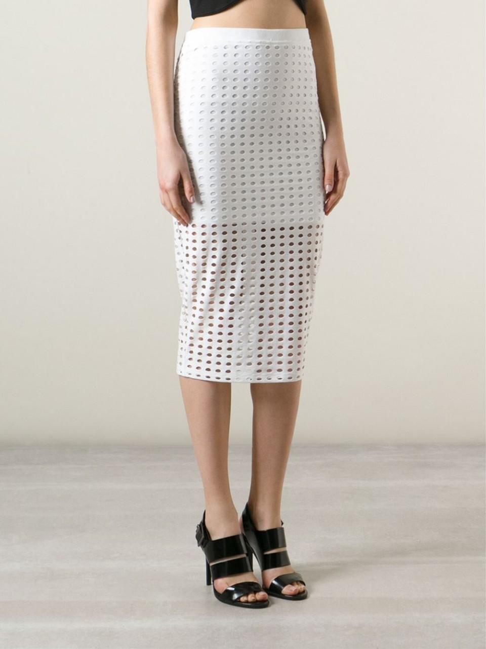 T By Alexander Wang Circular Hole Jacquard Jersey Skirt In
