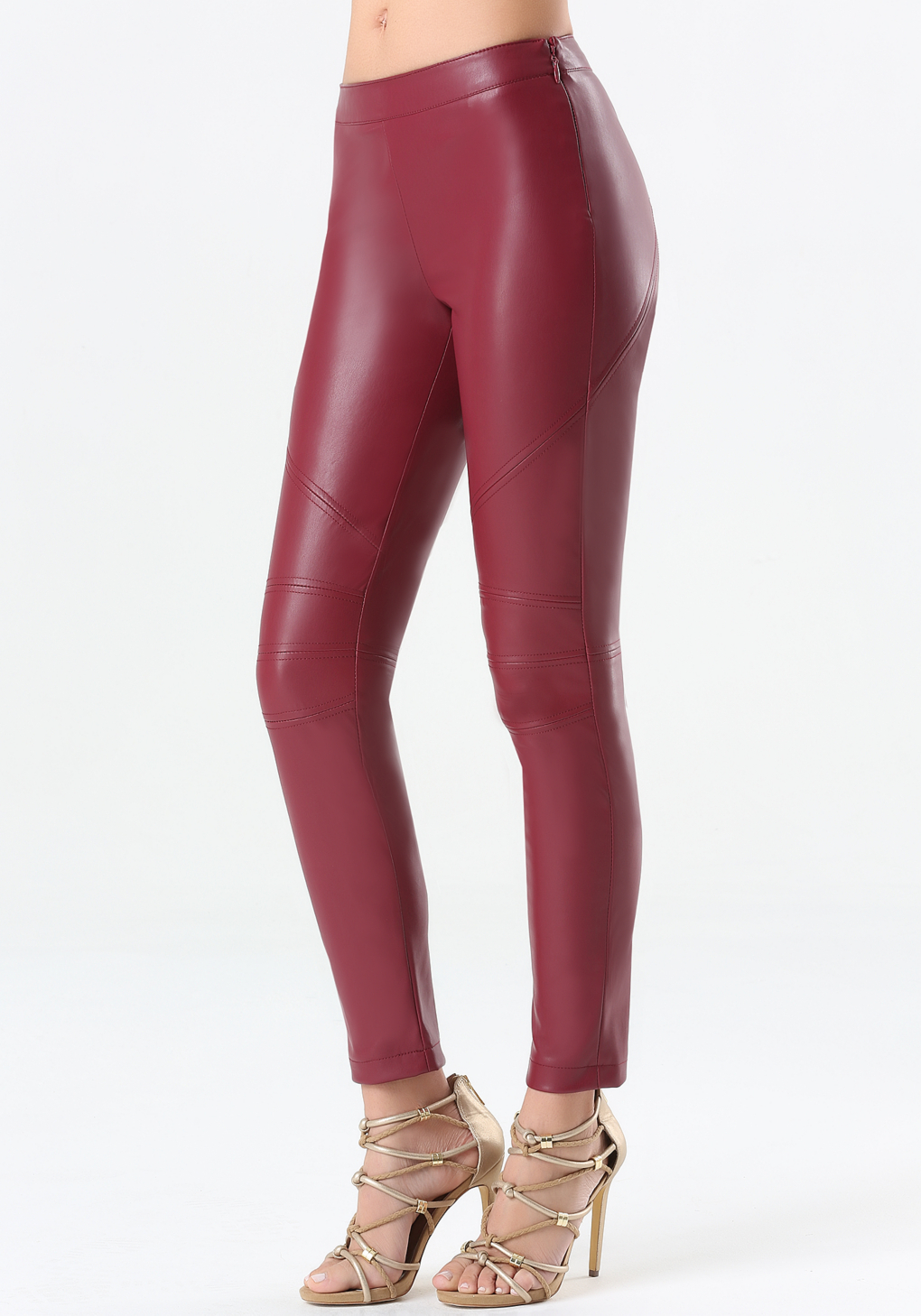 Bebe Faux Leather Leggings In Purple Cordovan Lyst