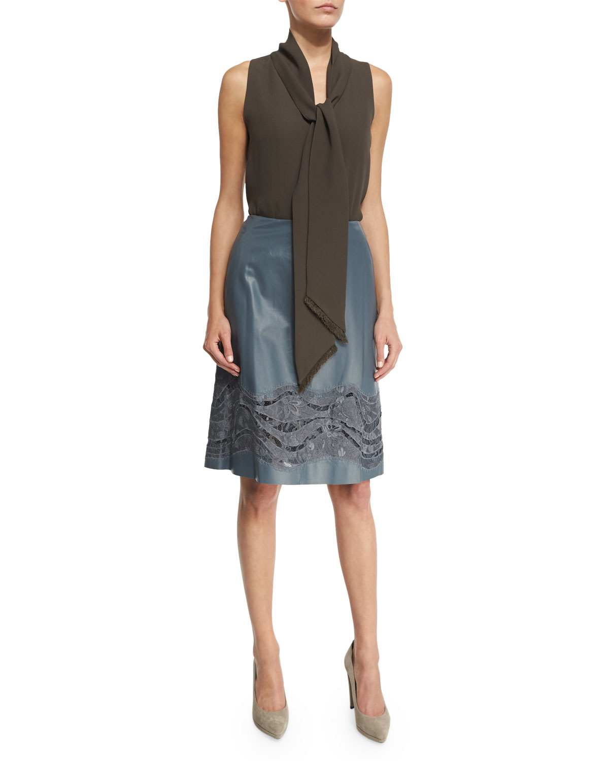 lafayette 148 new york tatiana leather skirt w lace