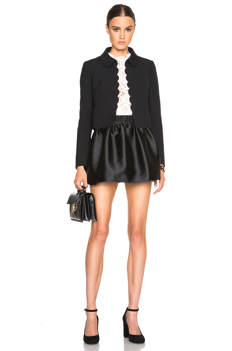 Red valentino Satin Mini Skirt in Black | Lyst