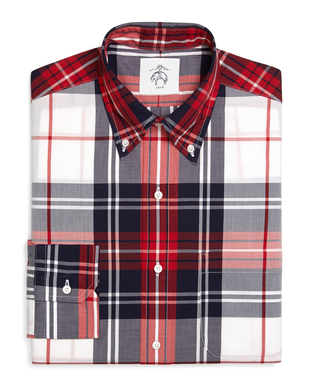 Brooks brothers plaid oxford button down shirt in red for for Red and white button down shirt