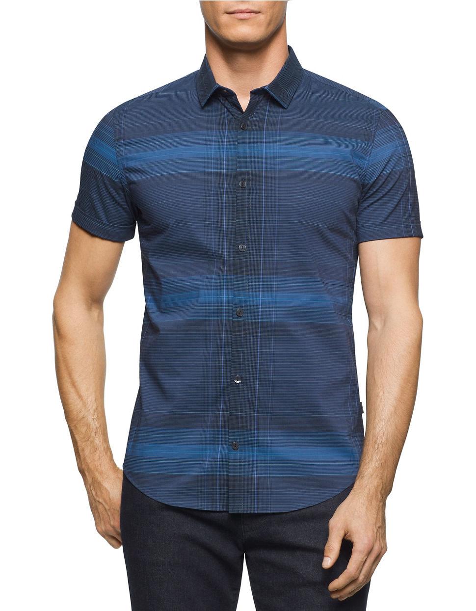 Calvin klein block striped button down shirt in blue for for Striped button down shirts for men