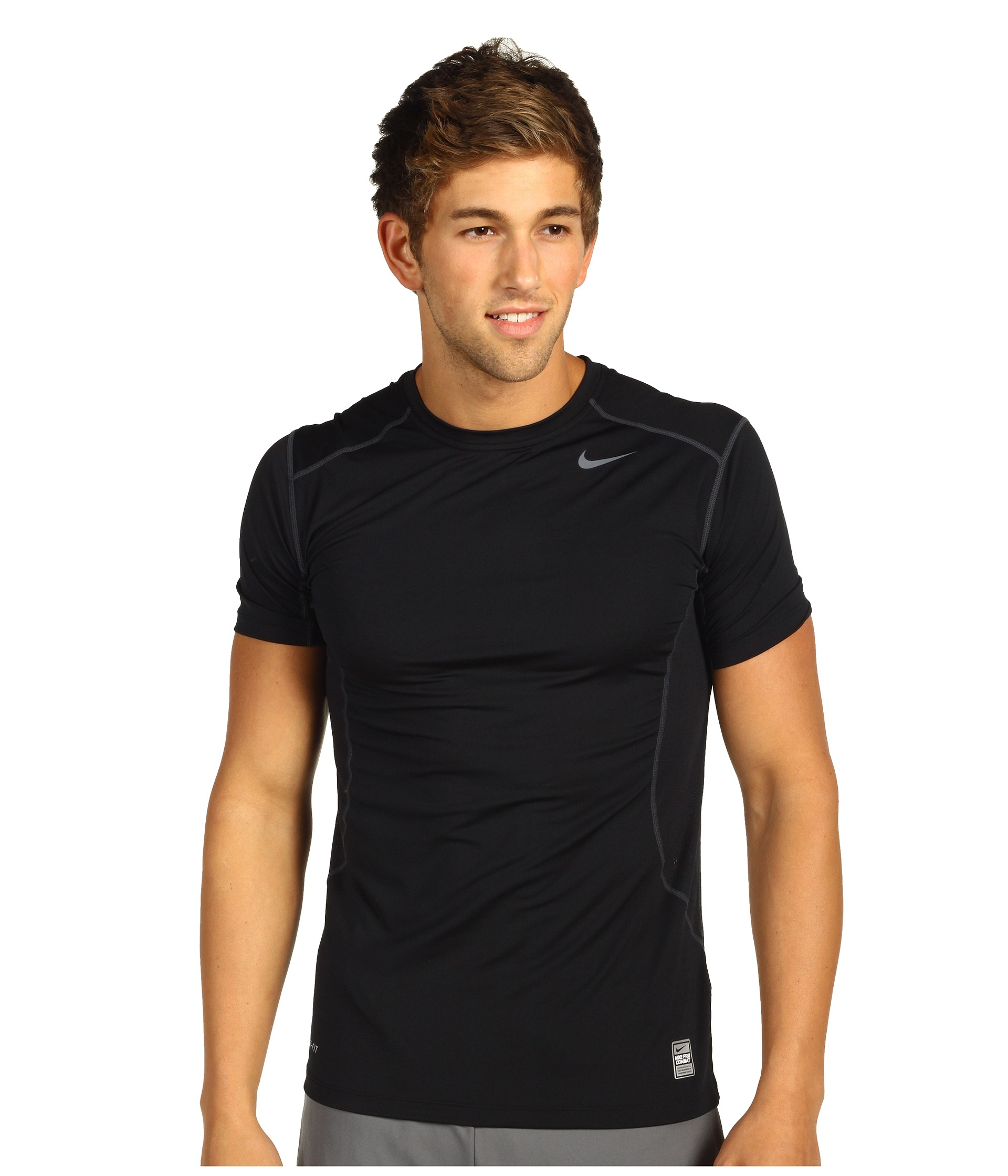 Lyst Nike Pro Combat Fitted 2 0 S S Crew In Black For Men