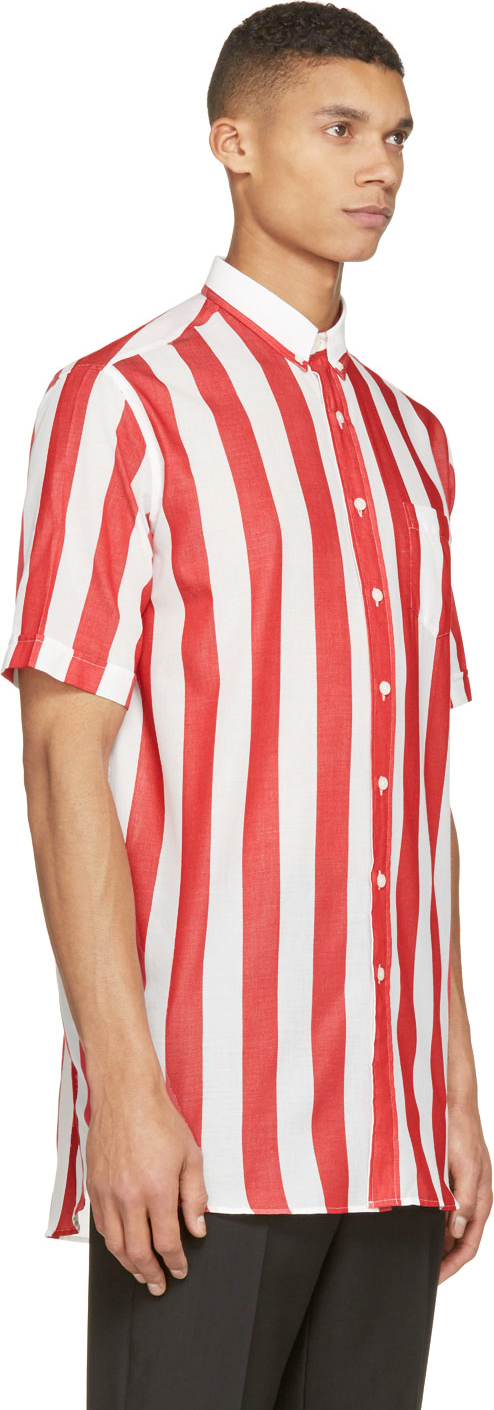 Ami red and white barber stripe shirt in red for men lyst for Red and white striped button down shirt