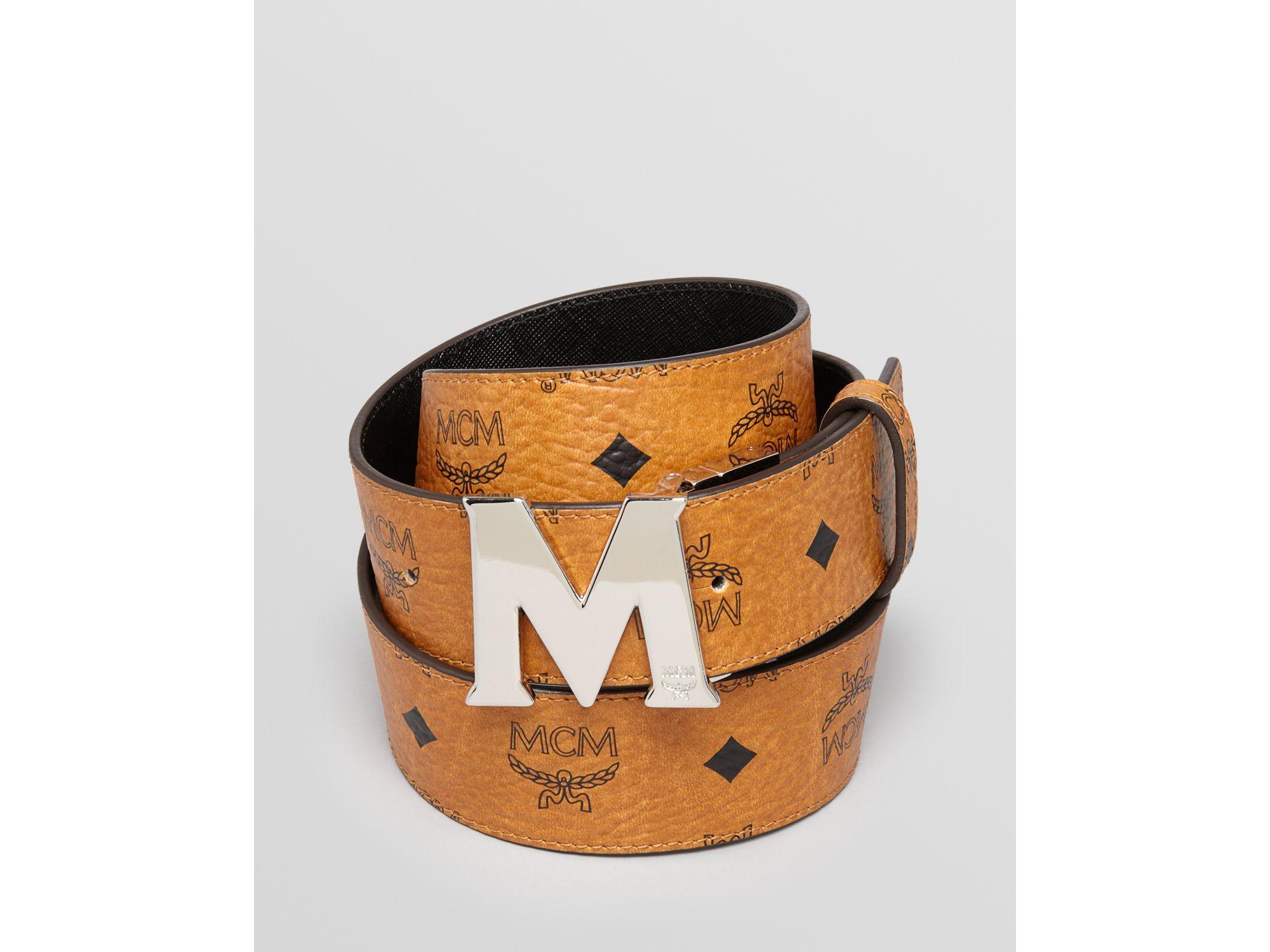 MCM Black Reversible Logo Belt for men