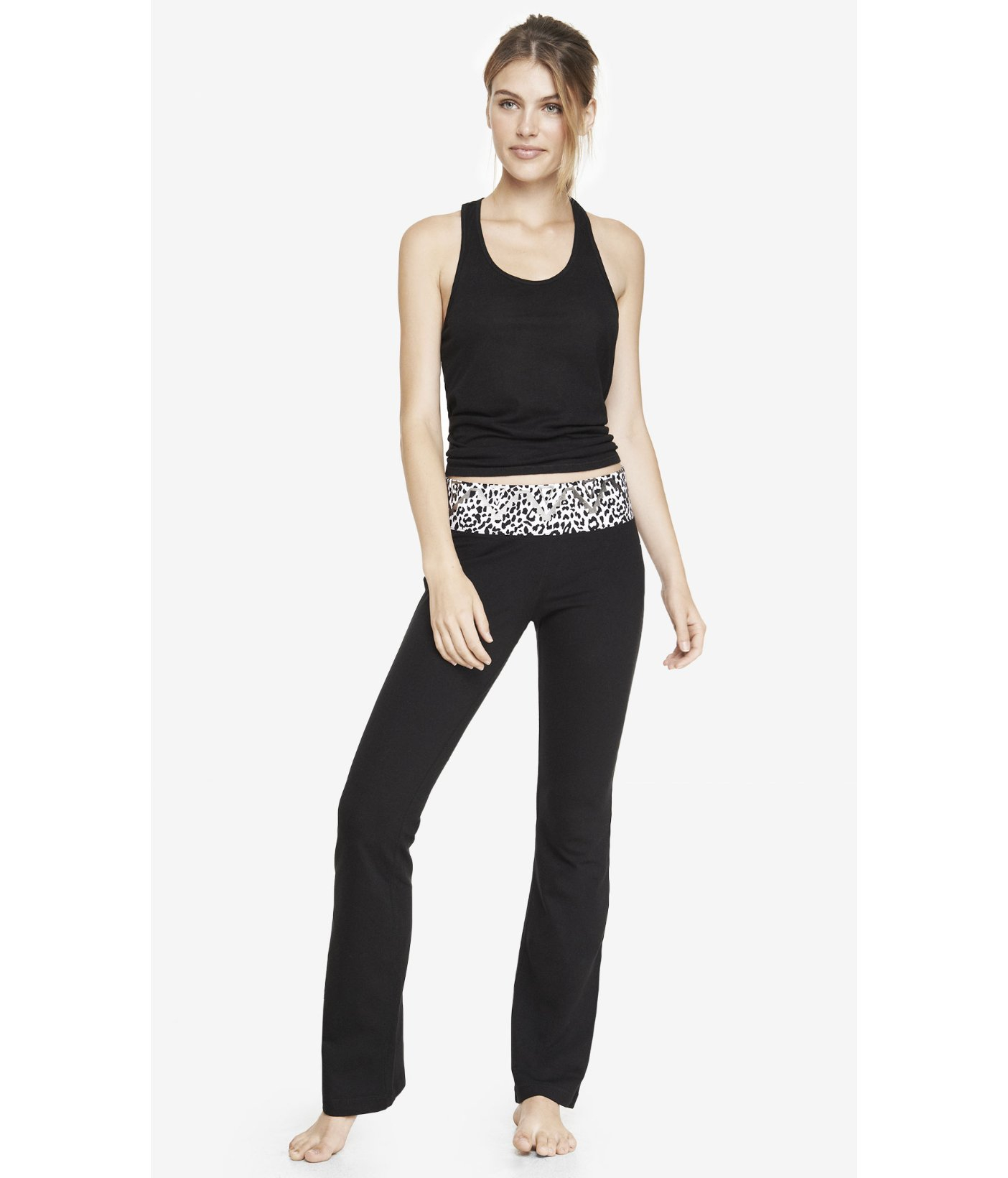 Express Leopard Aztec Wide Band Flare Yoga Pant in Black | Lyst