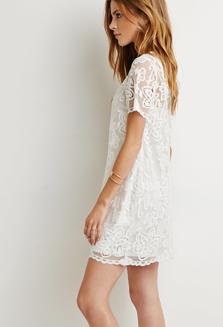 bc05449f80 Lyst - Forever 21 Embroidered Overlay Shift Dress in Natural