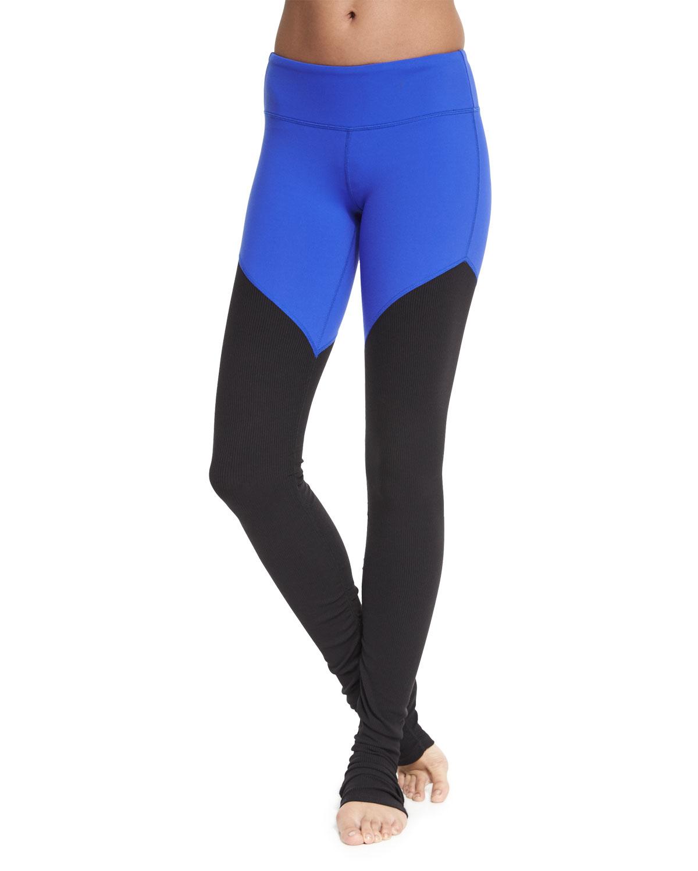 Alo Yoga Goddess 2 Colorblock Ribbed Sport Leggings In