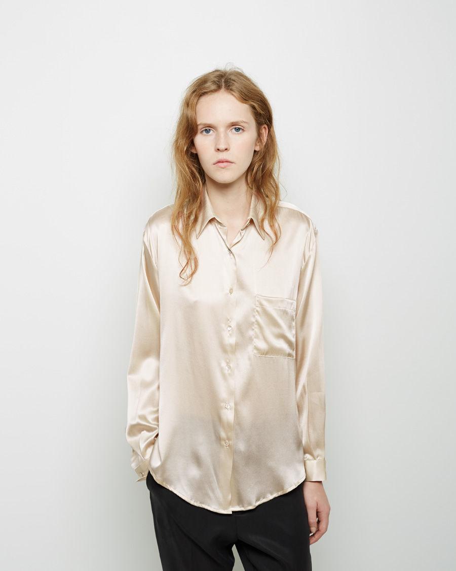 2e0834b3741 Lyst - Baserange Silk Satin Shirt in Metallic