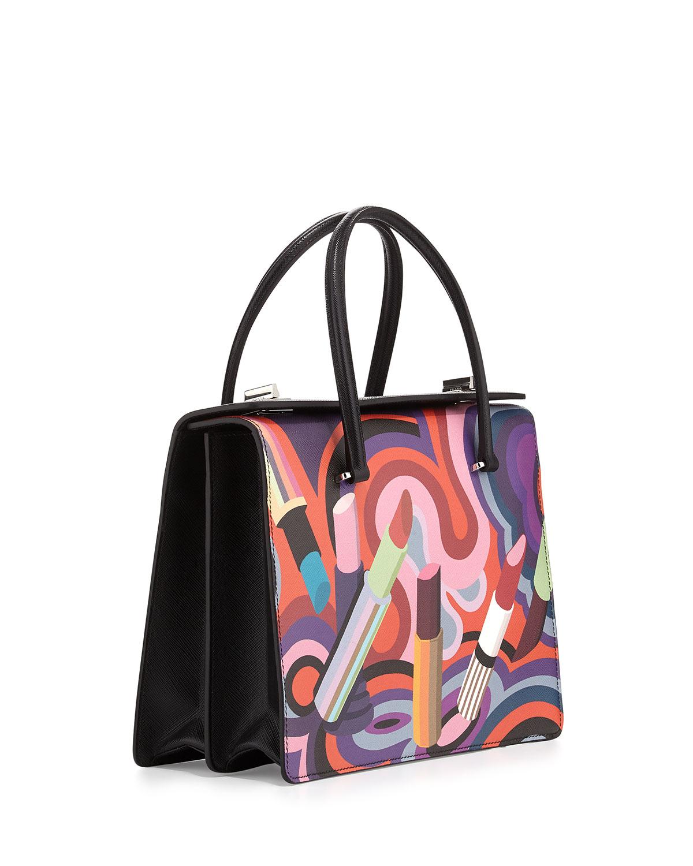 Lyst - Prada Lipstick-print Saffiano Tote Bag 996cf305b84be
