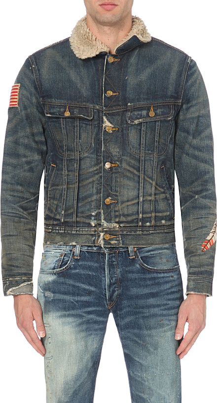 Mens Jeans Jacket With Leather Sleeves