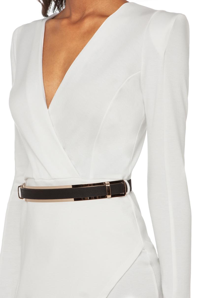 Akira Deep V Cross Over Dress With Belt In White Lyst