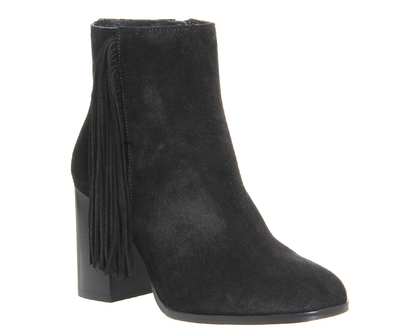 Office Ideally Square Tassle Boots in Black Suede (Black)