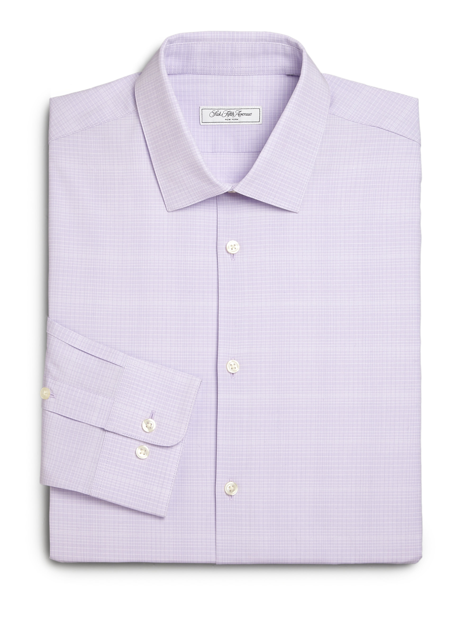 Saks fifth avenue modern fit checked dress shirt in purple for Modern fit dress shirt