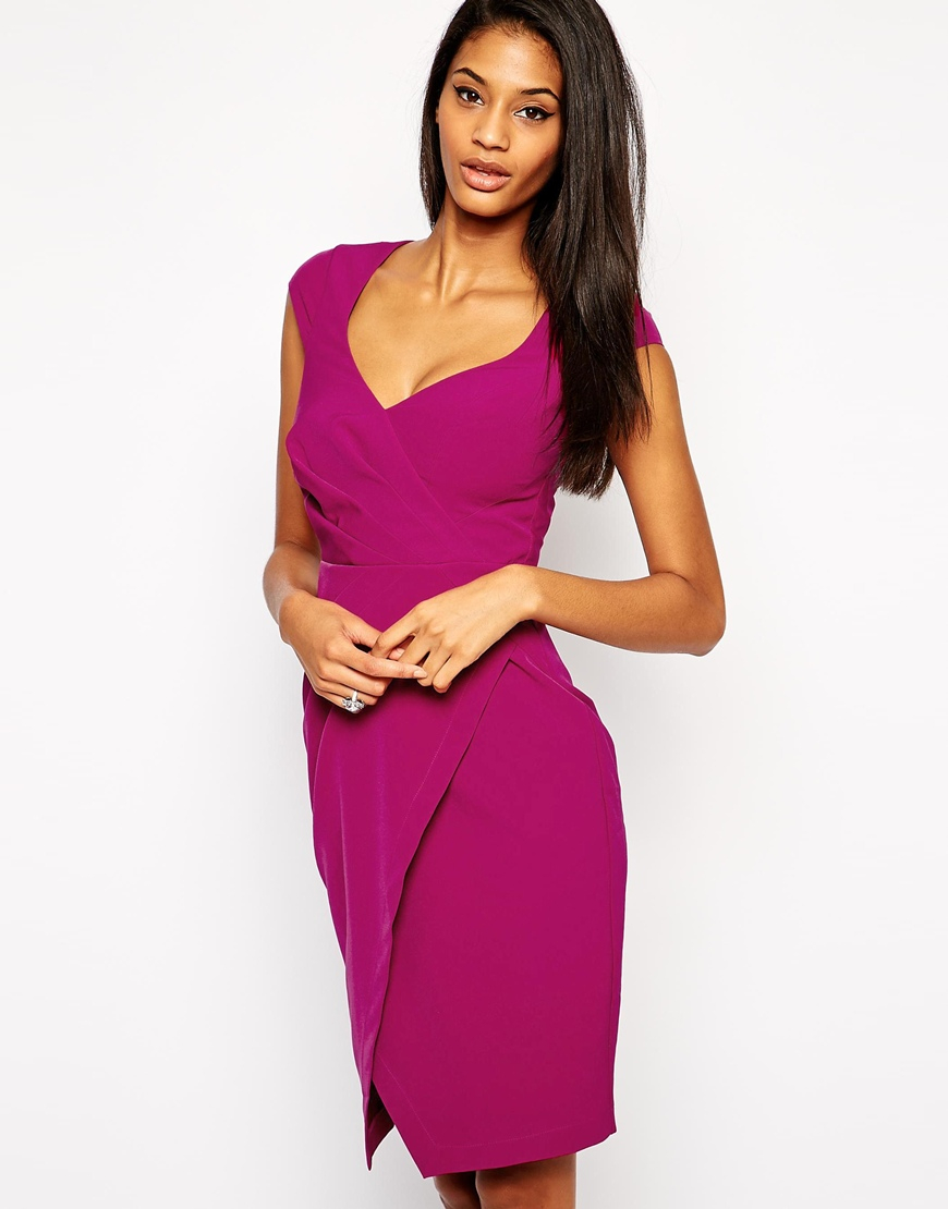 Lipsy Sweetheart Pencil Dress With Wrap Skirt in Pink | Lyst