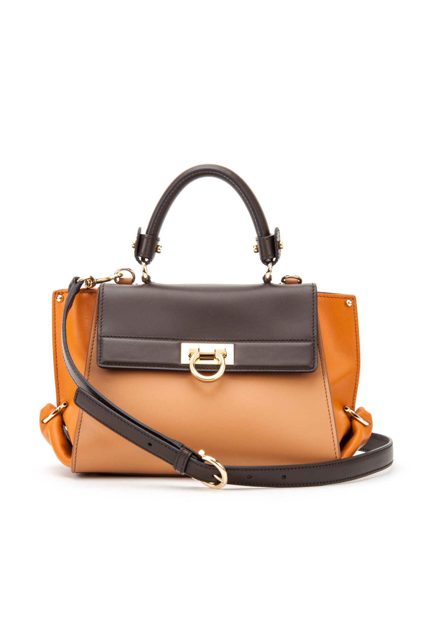 Ferragamo Sofia Calfskin Sioux Bag in Orange (SIENNE+ROUILLE+CACAO ...