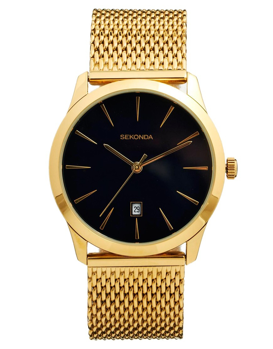 Lyst sekonda watch gold mesh strap in metallic for men for Watches gold