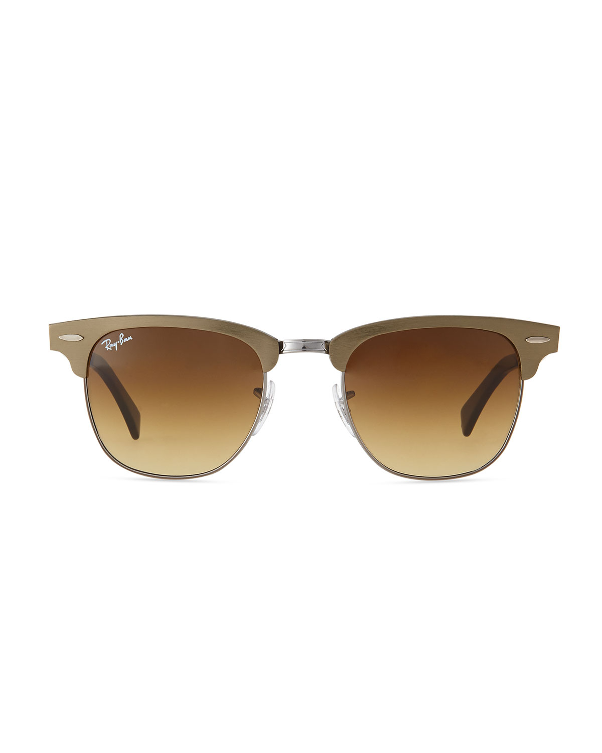 Ray Ban Golden Frame Glasses : Ray-ban Metal Frame Clubmaster Sunglasses in Gold (BRONZE ...
