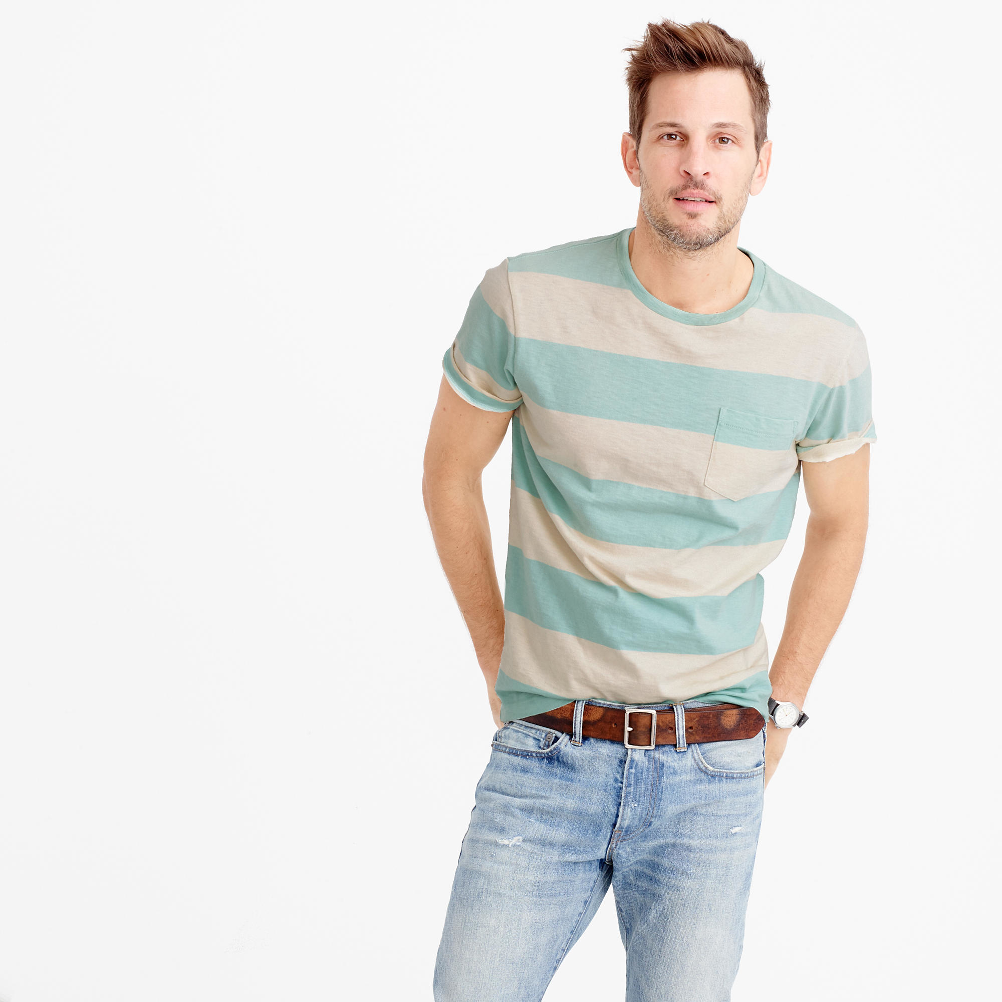 Pocket t shirt in sun faded surf stripe in natural for J crew mens outfits
