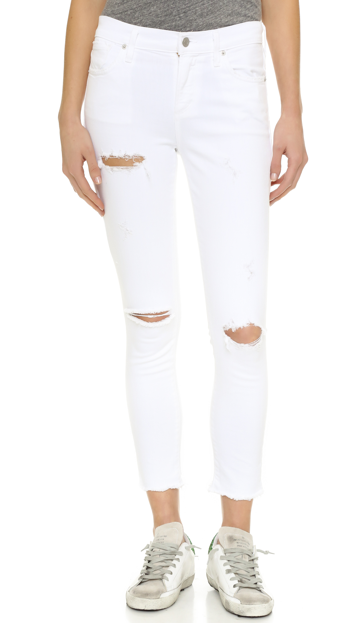 Agolde Denim Sophie High Rise Skinny Crop Jeans In White