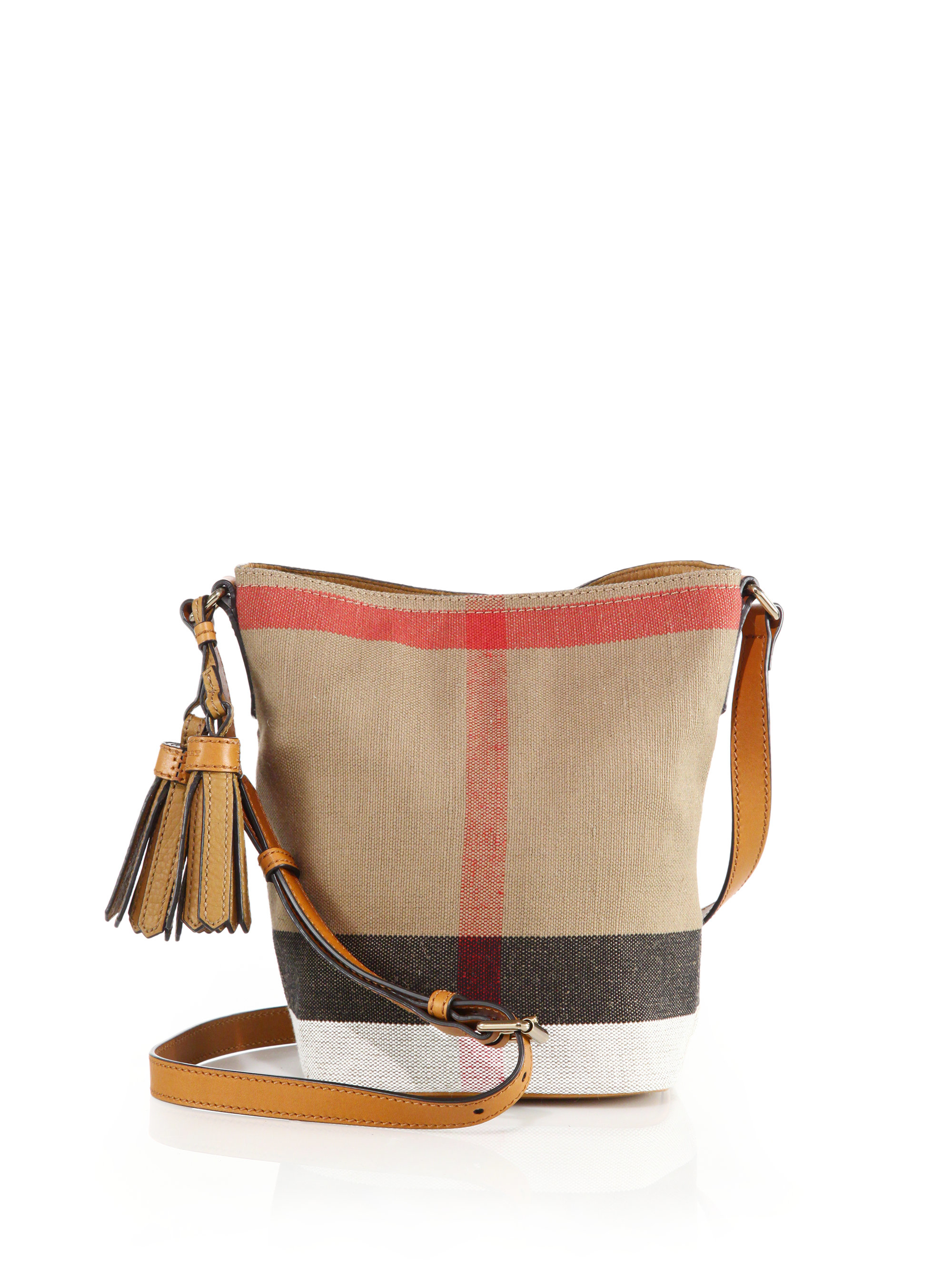 097631585381 Lyst - Burberry Ashby Small Canvas Check   Leather Crossbody Bag in ...