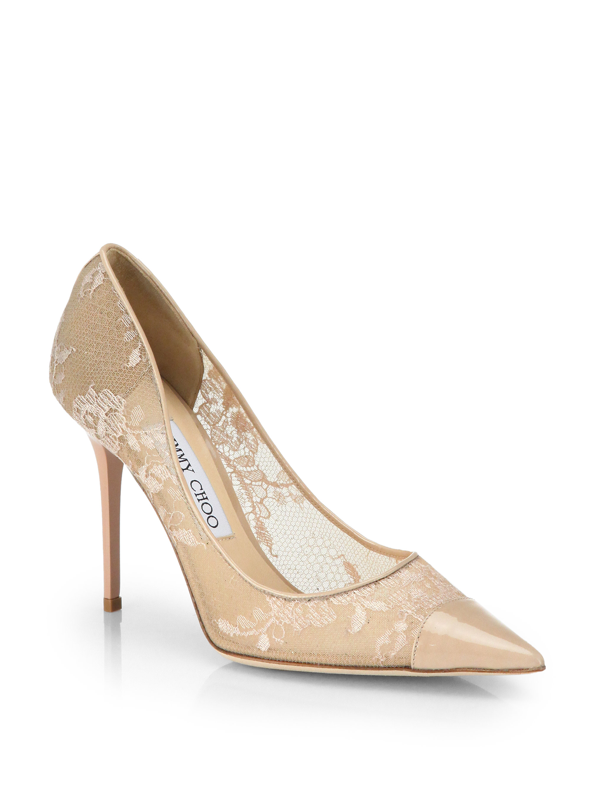 186f0408854 Jimmy Choo Amika Patent Leather Lace Pumps in Beige (NUDE .