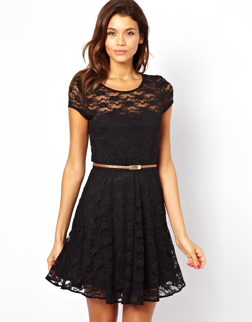 Black Lace Skater Dress Short Sleeve